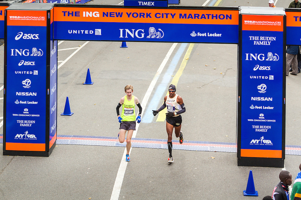 ING New York CIty Marathon: Michael Cassidy and Meb Keflezighi finish race together