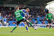 Chesterfield's Gary Liddle (5) has a shot deflected during the EFL Sky Bet League 1 match between Chesterfield and Scunthorpe United at the b2net stadium, Chesterfield, England on 22 October 2016. Photo by Richard Holmes.