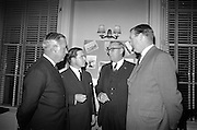16/11/1966<br /> 11/16/1966<br /> 16 November 1966<br /> Palgrave Murphy/North Sea Ferries reception to announce the appointment of agents for North Sea Ferries in the Republic of Ireland and new Ireland - Europe travel link, at Palgrave Murphy, Eden Quay Dublin. Picture shows (l-r): Mr. J.L. Bowles, UK Manager, North Sea Ferries; Mr. John Gordon, Managing Director, Palgrave Murphy Ltd.; Mr. Ian Churcher, General Manager, North Sea Ferries and Mr. Peter Young, Director Palgrave Murphy Ltd. chatting at the reception.