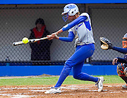 Hampton University Senior Catcher Brook Boykin strokes a single during Hampton's doubleheader split against Morgan State at the Lady Pirates Softball Complex on the campus of Hampton University in Hampton, Virginia.  (Photo by Mark W. Sutton)