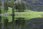 Perfect reflections of people on the banks of Trout Lake in Yellowstone National Park's Lamar Valley