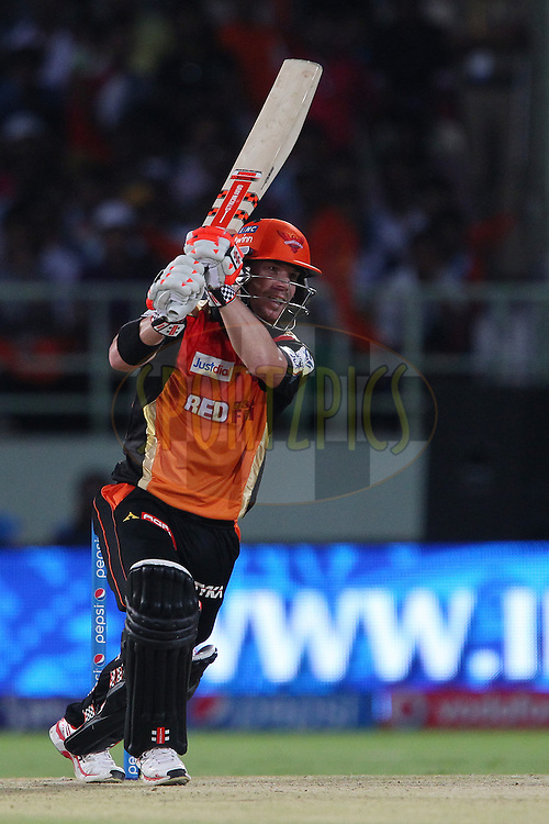 David Warner of the Sunrisers Hyderabad  during match 13 of the Pepsi IPL 2015 (Indian Premier League) between The Sunrisers Hyderabad and The Delhi Daredevils held at the ACA-VDCA Stadium in Visakhapatnam India on the 18th April 2015.<br /> <br /> Photo by:  Ron Gaunt / SPORTZPICS / IPL