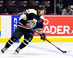 Hayden McCool of the Windsor Spitfires in the opening game of the 2017 MasterCard Memorial Cup against the Saint John Sea Dogs at the WFCU Centre in Windsor, ON on Friday May 19, 2017. Photo by Aaron Bell/CHL Images
