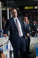 KELOWNA, CANADA - DECEMBER 4: Kris Mallette, assistant coach of the Kelowna Rockets stands on the bench against the Medicine Hat Tigers on December 4, 2015 at Prospera Place in Kelowna, British Columbia, Canada.  (Photo by Marissa Baecker/Shoot the Breeze)  *** Local Caption *** Kris Mallette;