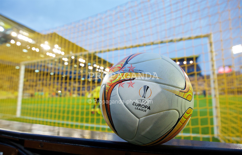 VILLRREAL, SPAIN - Thursday, April 28, 2016: The official adidas match ball ahead of the UEFA Europa League Semi-Final 1st Leg match between Villarreal CF and Liverpool at Estadio El Madrigal. (Pic by David Rawcliffe/Propaganda)