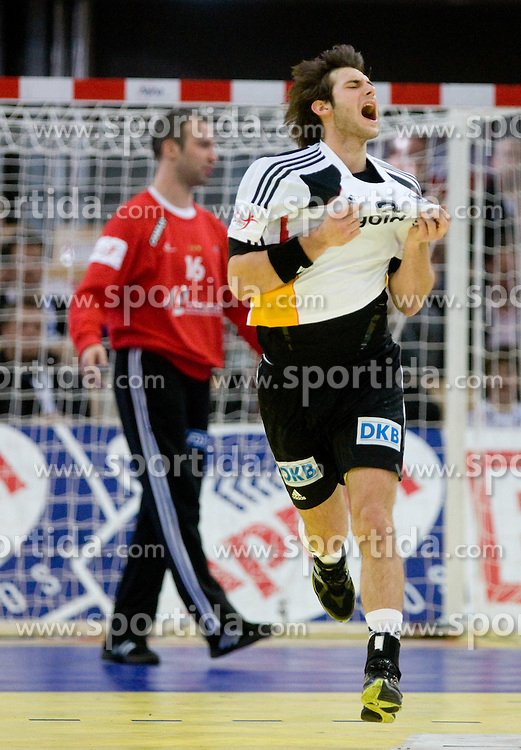 Uwe Gensheimer of Germany reacts during the Men's Handball European Championship Main Round match between Germany and France at the Olympia Hall on January 24, 2009 in Innsbruck, Austria. France defeated Germany 24:22. (Photo by Vid Ponikvar / Sportida) - on January 2010