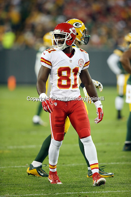Kansas City Chiefs wide receiver Jason Avant (81) looks on during the 2015 NFL week 3 regular season football game against the Green Bay Packers on Monday, Sept. 28, 2015 in Green Bay, Wis. The Packers won the game 38-28. (©Paul Anthony Spinelli)