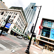 Daytime street scene at 13th & Main, downtown Kansas City, Missouri.