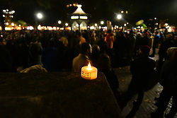 Hundreds stand in solidarity with the Pittsburgh' Jewish community during a vigil at Rittenhouse Square, on Saturday. (Bastiaan Slabbers for WHYY)