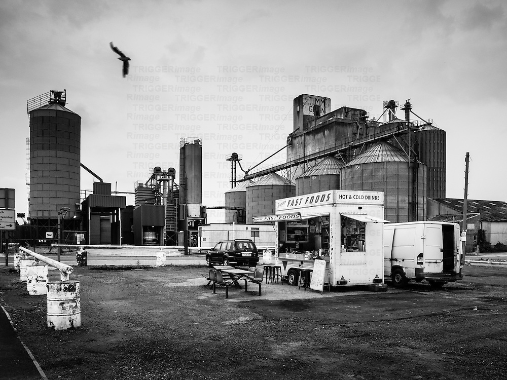 Fast food outlet near industrial site with grain silos