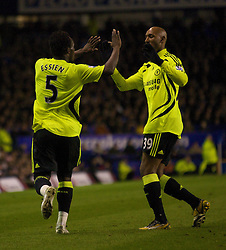 LIVERPOOL, ENGLAND - Thursday, April 17, 2008: Chelsea's Michael Essien celebrates with team-mate Nicolas Anelka after his opening goal during the Premiership match against at Goodison Park. (Photo by David Rawcliffe/Propaganda)