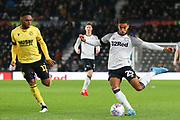 Derby County defender Max Lowe (25) crosses the ball  during the EFL Sky Bet Championship match between Derby County and Millwall at the Pride Park, Derby, England on 14 December 2019.