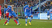 Nathaniel Mendez-Laing & Calvin Andrew during the Sky Bet League 1 match between Rochdale and Oldham Athletic at Spotland, Rochdale, England on 24 October 2015. Photo by Daniel Youngs.