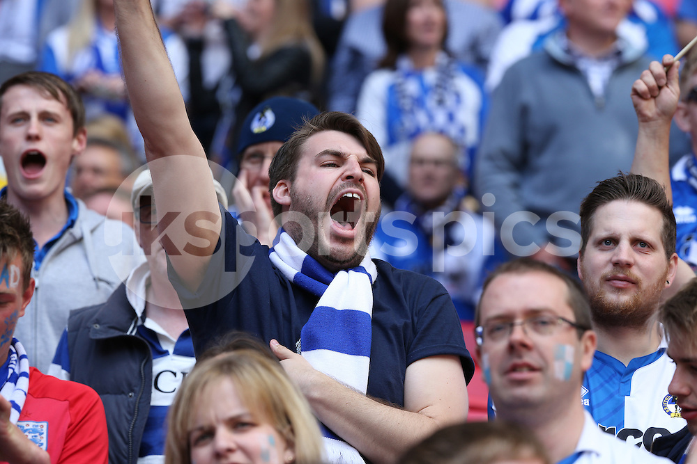 Getting behind Rovers during the Vanarama Conference Play Off Final match between Bristol Rovers and Grimsby Town at Wembley Stadium, London, England on 17 May 2015. Photo by Dave Peters.