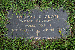 31 August 2017:   Veterans graves in Park Hill Cemetery in eastern McLean County.<br /> <br /> Thomas E Cropp  Technical Sergeant  US Army World War II  Oct 19 1923  Sep 16 1980