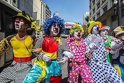 October 24, 2016 - Sao Paulo, Sao Paulo, Brazil - A group of clowns protest in the old center of Sao Paulo). They are against bad clowns scaring people. The wave of evil clowns started in the US and has spread to many countries. (Credit Image: © Cris Faga via ZUMA Wire)