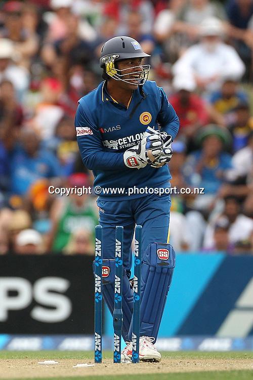 Kumar Sangakkara of Sri Lanka appeals for an unsuccessful runout  during the first ODI cricket game between the Black Caps v Sri Lanka at Hagley Oval, Christchurch. 11 January 2015 Photo: Joseph Johnson / www.photosport.co.nz