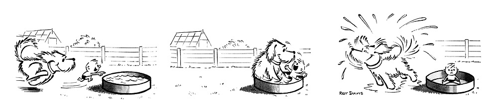 (A little boy plays with his pet dog in a paddling pool, but the dog's fur absorbs all the water)