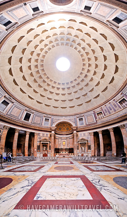 Interior of the Pantheon in Rome. Ultra-wide-angle vertical panorama that includes the dome roof.
