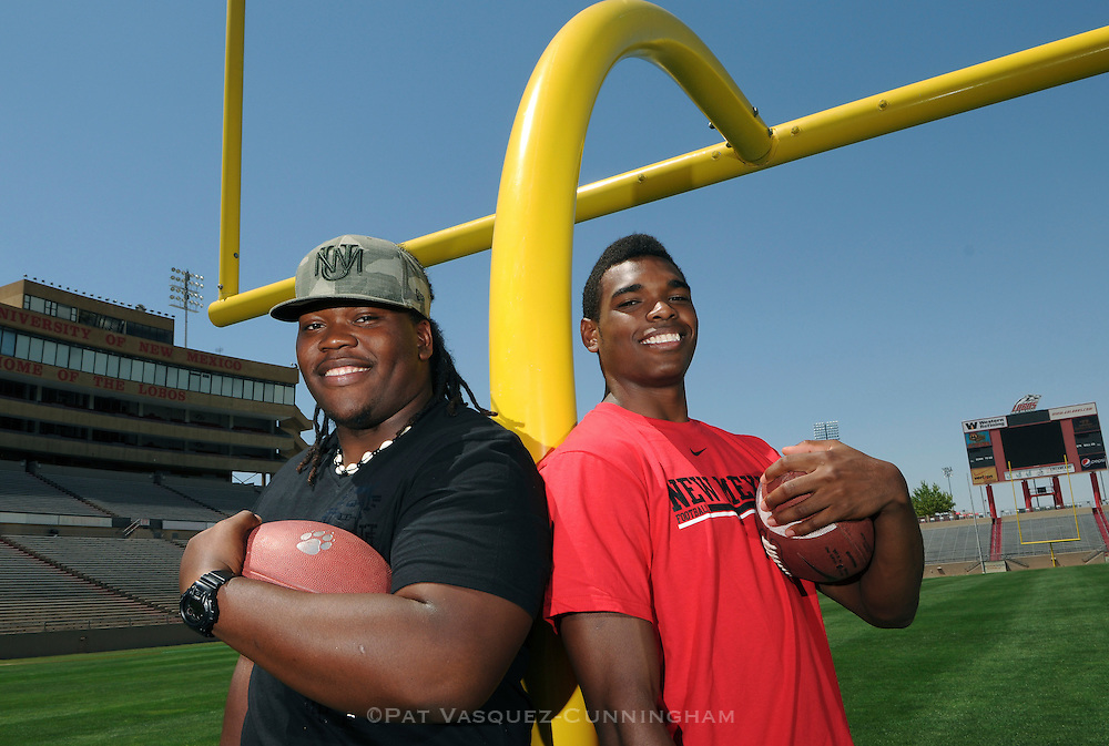 pvc070111e/7-1-11/sports.  UNM football recruits Rod Davis, left, and Julian Lewis, right, pose for a portrait at University Stadium Friday July 1, 2011.  (Pat Vasquez-Cunningham/Journal)