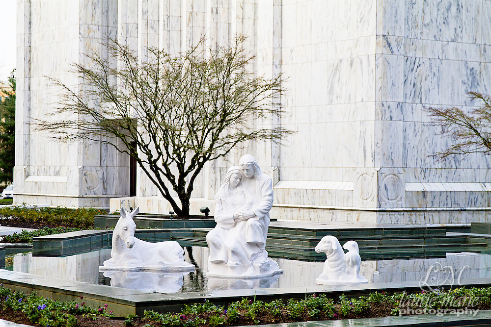 Christmas Nativity in the reflecting pool of the Portland OR LDS Mormon Temple