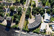 Nederland, Groningen, Nieuweschans, 05-08-2014; Oude Remise (1876), voormalige locomotiefloods van de Staatsspoorwegen in Bad Nieuweschans.<br /> Former locomotive shed of the State Railways, border with Grmany.<br /> luchtfoto (toeslag op standard tarieven);<br /> aerial photo (additional fee required);<br /> copyright foto/photo Siebe Swart