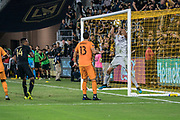 Houston Dynamo goalkeeper Joe Willis (23) makes a save against LAFC during a MLS soccer game, Saturday, Sept 25, 2019, in Los Angeles. LAFC wins 3-1. (Jon Endow/Image of Sport)