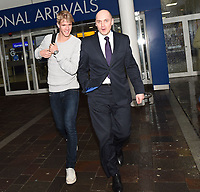16/02/16<br /> GLASGOW INTERNATIONAL AIRPORT<br /> Kristoffer Ajer arrives at Glasgow International Airport, escorted by Celtic physiotherapist Tim Williamson.
