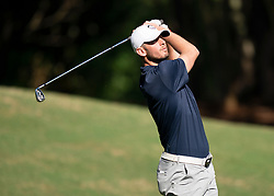 Former UConn quarterback Dan Orlovsky tees off during the Chick-fil-A Peach Bowl Challenge at the Ritz Carlton Reynolds, Lake Oconee, on Tuesday, April 30, 2019, in Greensboro, GA. (Paul Abell via Abell Images for Chick-fil-A Peach Bowl Challenge)