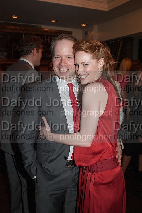 DAMIAN HUMBLEY; CLARE FOSTER, The press night performance of the Menier Chocolate Factory's 'Merrily We Roll Along', following its transfer to the Harold Pinter Theatre, After-show party at Grace Restaurant, Gt. Windmill St. London. 1 May 2013.