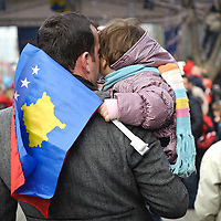 "Pristina, Kosovo 17 February 2011<br /> Kosovars celebrate the third anniversary of Kosovo's declaration of independence from Serbia.<br /> After the Kosovo War and the 1999 NATO bombing of Yugoslavia, the territory of Kosovo came under the interim administration of the United Nations Mission in Kosovo (UNMIK), and most of those roles were assumed by the European Union Rule of Law Mission in Kosovo (EULEX) in December 2008. <br /> In February 2008 individual members of the Assembly of Kosovo declared Kosovo's independence as the Republic of Kosovo. Its independence is recognised by 75 UN member states. <br /> On 8 October 2008, upon request of Serbia, the UN General Assembly adopted a resolution asking the International Court of Justice for an advisory opinion on the issue of Kosovo's declaration of independence.<br /> On 22 July 2010, the ICJ ruled that Kosovo's declaration of independence did not violate international law, which its president said contains no ""prohibitions on declarations of independence"".<br /> Photo: Ezequiel Scagnetti"