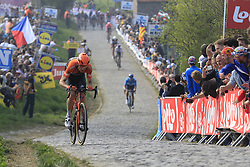 Pieter Weening (NED) Roompot-Charles climbs the Paterberg for the last time during the 2019 Ronde Van Vlaanderen 270km from Antwerp to Oudenaarde, Belgium. 7th April 2019.<br /> Picture: Eoin Clarke | Cyclefile<br /> <br /> All photos usage must carry mandatory copyright credit (© Cyclefile | Eoin Clarke)