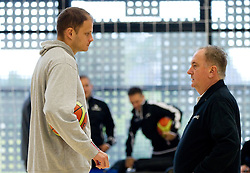 Raso Nesterovic and coach Bozidar Maljkovic during practice session of Slovenian National basketball team 1 day before Eurobasket Lithuania 2011, on August 29, 2011, in Arena Svyturio, Klaipeda, Lithuania. (Photo by Vid Ponikvar / Sportida)