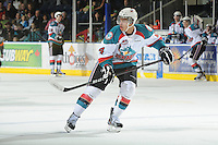 KELOWNA, CANADA, FEBRUARY 17: Madison Bowey #4 of the Kelowna Rockets skates on the ice against the Calgary Hitmen at the Kelowna Rockets on February 17, 2012 at Prospera Place in Kelowna, British Columbia, Canada (Photo by Marissa Baecker/Shoot the Breeze) *** Local Caption ***