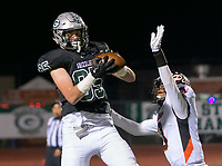 Pittsburg Pirates Willie Harts III (3), defends as Granite Bay Grizzly's Ryan Smith (85), catches the ball for a touchdown to trail 24-14 during the third quarter as the Granite Bay Grizzlies varsity football team host the Pittsburg Pirates football team in the CIF NorCal Division I-A title game, Saturday Dec 9, 2017. The winner of this game will face the CIF SoCal winner in the State Championship game at Sacramento State, Saturday Dec 16th at 4:00.<br /> photo by Brian Baer