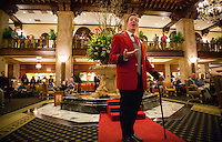 Memphis, Tennessee- November 04, 2014: Duckmaster Anthony Petrina regales the crowd at the Peabody Hotel with a story of hotels famous ducks. Every morning the ducks march from their perch on the roof to the marble fountain in the lobby. CREDIT: Chris Carmichael for The New York Times