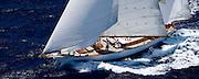 Ticonderoga sailing the Old Road Race at the Antigua Classic Yacht Regatta