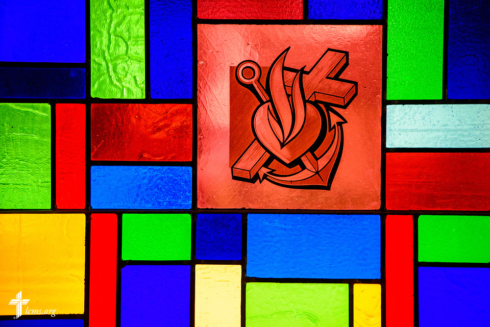 Stained glass depicting the cross, heart, and anchor Zion Lutheran Church, Worms, Neb., on Saturday, Sept. 23, 2017. LCMS Communications/Erik M. Lunsford