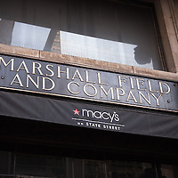 Marshall Field's Macy's sign in Chicago high resolution photo.