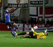 Rai Simons scores during the The FA Cup match between FC United of Manchester and Chesterfield at Broadhurst Park, Manchester, United Kingdom on 9 November 2015. Photo by Pete Burns.
