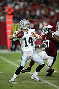 Oakland Raiders quarterback Matt McGloin (14) throws a pass during the 2016 NFL preseason football game against the Arizona Cardinals on Friday, Aug. 12, 2016 in Glendale, Ariz. The Raiders won the game 31-10. (©Paul Anthony Spinelli)