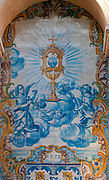 The holy Grail Painted blue tiles at the Convent of Saint Peter of Alcantara (Convento de Sao Pedro de Alcantara), Bairro Alto, Lisbon, Portugal