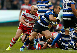 Bath's Kahn Fotuali'i and Gloucester's Willi Heinz during the Aviva Premiership match at the Recreation Ground, Bath.