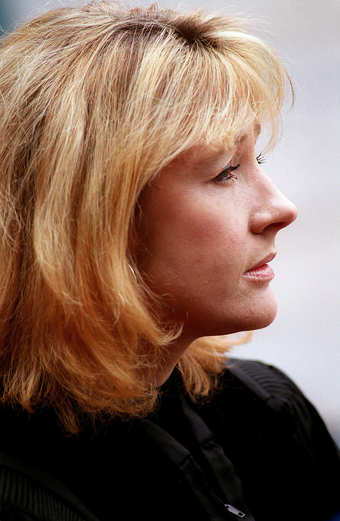 Novelist J.K. Rowling -- author of the Harry Potter series -- waits for the start of Dartmouth College's commencement in Hanover, N.H.,  on June 11, 2000, where Rowling received an honorary degree. The fourth Harry Potter book is due in bookstores on July 8, 2000. The 752-page book is to have a first printing of 3.8 million copies -- a record in book publishing. (Photo by Geoff Hansen)