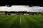 General view of the pitch at the Pirelli Stadium before the EFL Sky Bet Championship match between Burton Albion and Ipswich Town at the Pirelli Stadium, Burton upon Trent, England on 14 April 2017. Photo by Richard Holmes.