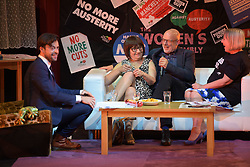 © Licensed to London News Pictures. 26/04/2016. Manchester, UK.  Jolyon Rubinstein from The Revolution Will Be Televised, Actress and Comedian, Barbara Nice, Musician, Brian Eno, and Penny Hicks from Manchester People's Assembly at Saturday Night Live Manchester chat show event as part of the Take Back Manchester festival to protest the Conservative Party conference taking part in the city.  Photo credit: Steven Speed/LNP