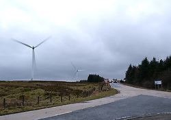 Storm Brendan, Monday 13th January 2020<br /> <br /> Strong winds from Storm Brendan hit Scotland this morning and blew over a lorry on the A704 near Breich Crossroads<br /> <br /> Pictured: The lorry on its side. General view of the area, it's very open and is home to a wind farm.<br /> <br /> Alex Todd | Edinburgh Elite media