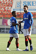 Rangers forward Jermain Defoe (9) and Rangers defender Connor Goldson (6) celebrate winning after the Ladbrokes Scottish Premiership match between Hamilton Academical FC and Rangers at New Douglas Park, Hamilton, Scotland on 24 February 2019.