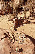 Pottery sherds and turkey pen at Turkey Pen Ruin, Grand Gulch Primitive Area, Utah