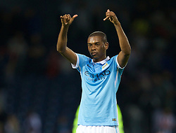 WEST BROMWICH, ENGLAND - Monday, August 10, 2015: Manchester City's Fernando Luiz Roza 'Fernandinho' applauds the supporters after his side's 3-0 victory over West Bromwich Albion during the Premier League match at the Hawthorns. (Pic by David Rawcliffe/Propaganda)